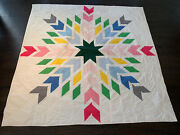 """Amazing Vintage Handmade Quilt Bright Color Star Quilt Coverlet 71 X 71"""""""