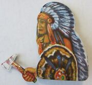 Vintage 1950s Tin Litho Toy Clicker Indian Chief And Moving Tomahawk Japan