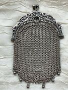 Antique Sterling Silver Chatelaine Coin Purse - Six Tiny Beads, Hallmarks,signed