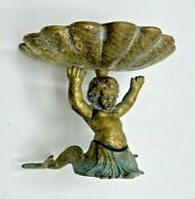 Vintage Sherle Wagner 3317 Gilt Bronze Double Tailed Mermaid And Shell Soap Dish