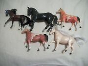 """Vintage 1950's Hard Plastic Western Horse's With Saddle Ws Hong Kong 8"""" Tall"""