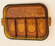 Vtg. Indiana Carnival Glass Divided/relish Tray - Marigold/amber Mint Condition
