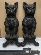 Antique French Bulldog Cast Iron Andirons Fireplace Accessory