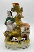 Antique Staffordshire Figural Spill Vase With Lady, Rabbits And Fox On The Hutch