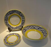 Set Of 12 Deruta Italian Pottery Dinner And Salad Plates And Lg Bowl Blue And Yellow