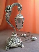 Beautiful Antique 20thc Portuguese Solid Silver .833 Table Lamp