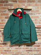 Vintage Woolrich Made In Usa Green Hooded Field Coat Plaid Wool Lining Large