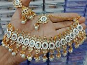 Bollywood Designer Indian White Bridal Party Wear Fashion Jewelry Necklace Set