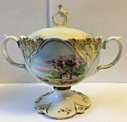 Antique R.s. Prussia Red Mark Double Handled Lidded Footed Sugar Dish Rare