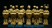 4 Old Chinese Copper 24k Gold Gilt Animal Zodiac Year Dragon Horses Statue Set