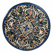 36 Round Marble Coffee Table Top Pietra Dura Inlay Living Room Decor Antique