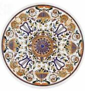 36and039and039 Antique Round White Marble Coffee Table Top Pietra Dura Inlay Room Decor