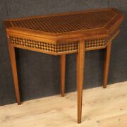Game Table Console Inlaid Furniture Antique Style Faux Leather Top 20th Century