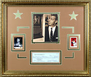 Joe Dimaggio Autographed Yankee Clipper Enterprises Check And Cards Framed 3 Autos