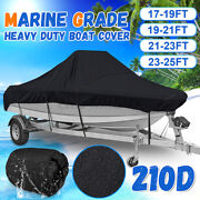17-25 Ft Waterproof Boat Cover Marine Grade 210d For V-hull Center Console Boat
