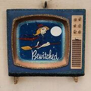 Retro Television - Bewitched Witch Glitter Halloween Ornament Vtg Img