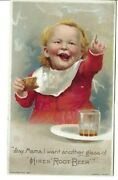 Az-304 Hiresand039 Root Beer Temperance Drink Baby Pointing Victorian Trade Card
