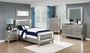 4 Pc Glam Gray Metallic Leatherette Twin Bed Ns Dresser Bedroom Furniture Set