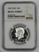 1967 Sms Kennedy Half Dollar 50c Ngc Ms 67 Mint State Unc Star - Cameo 001