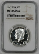 1967 Sms Kennedy Half Dollar 50c Ngc Ms 68 Mint State Unc - Cameo 001