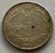 Romania 250 Lei 1941 Nsd Silver Coin Digit 1 Of The Year Low Beating 1941