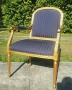Ethan Allen Traditional Navy Blue Ornate Gold Wood Arm Chair