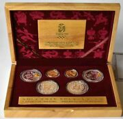 2008 Bejing 6 Coin Gold Silver Olympic Proof Set With Box + Coa