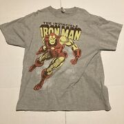 Marvel Comics The Invincible Iron Man Size Large Gray T-shirt Delta Pro Weight