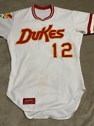Albuquerque Dukes Jersey Game Used Aaa La Dodgers Aaa Farm Team White Jersey