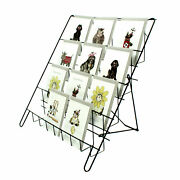 Greeting Card Display Stand In Black 4 Tier Wire Book Magazine Counter E8b