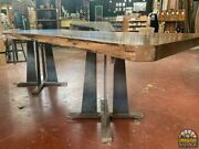 Industrial Mission Style Table Pedestal Base, 28h, Usa. Welded Steel,