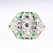 Ring Vintage Natural Diamond And Green Glass Platinum Setting Wide 1.15 Ctw Sz 6