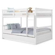 Full Over Full Bunk Bed Platform Wood Bed W/ Sturdy Trundle And Ladder Rail Home