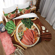 Hot Pot Barbecue Pattern Bedding Set Duvet Cover And Pillowcase Twin Full Queen