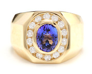 Heavy 5.10ct Natural Tanzanite And Diamond 14k Solid Yellow Gold Menand039s Ring