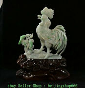 12 China Natural Emerald Green Jade Jadeite Carving Rooster Cock Sculpture