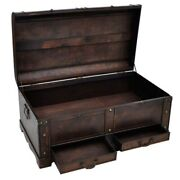Large Wood Treasure Chest Vintage Coffee Table Storage Trunk Box With Drawers Us