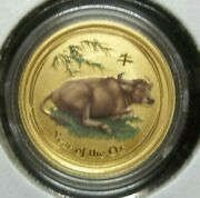 2009 Australia Lunar Year Of The Ox 1/10 Ounce Gold Coin Colorized Sku286
