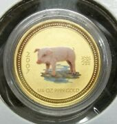 2007 Australia Lunar Year Of The Pig 1/4 Ounce Gold Coin Colorized Sku318