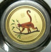 2004 Australia Lunar Year Of The Monkey 1/4 Ounce Gold Coin Colorized Sku317