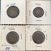 1859 1888 Indian Head Penny Lot 4x Good Condition