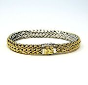 John Hardy Bracelet Classic Chain 7.55 Mm Reversible Sterling And 18k Gold 7.5