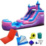 Pogo Blow Up Water Slide Pool Kids Pink Inflatable With Blower 4x6 Mat And Tarp