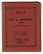 Map Of The City Of Montreal 1923 With Index Of Streets / 1922 Americana