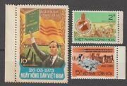 1973 South Vietnam Stamps Farmers With Tractor Scott 448-450 Mnh