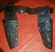 Vintage 1950and039s Daisy Vinyl Cap Gun Right And Left Pocket Holster And Belt