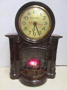 1950's Vintage Mastercrafters No 272 Fireplace Motion Clock - Working - Nice