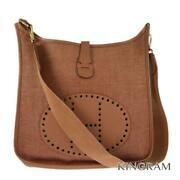 Hermes Evelyn 1gm □ A Stamp Brown Canvas X Leather Cross Body From Japan
