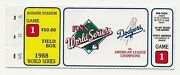 1998 World Series Dodgers Vs. A's Game One Field Box Ticket Stub Gibson's Homer