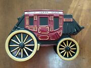 Wells Fargo Stage Coach Wagon Die Cast Metal Piggy Coin Bank With Key 2011